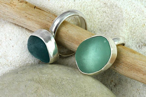 Sea Glass Bezel Set Rings - Liliana Designs.com