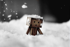 Danbo trudges to work (James Green Photography) Tags: winter snow cold ice japan toy 50mm robot nikon doll box figure 18 danbo d40 revoltech danboard
