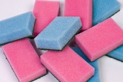 Plain blue and pink polyurethane kitchen sponges