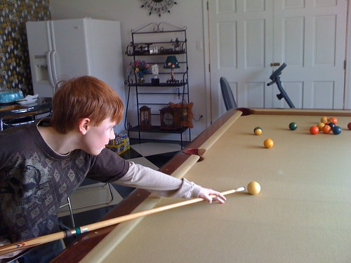 100110 Spencer playing pool at Jo and Jim's