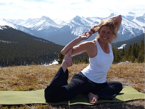 Martha of Martha's Heli-Hikes, leading yoga in the Rockies