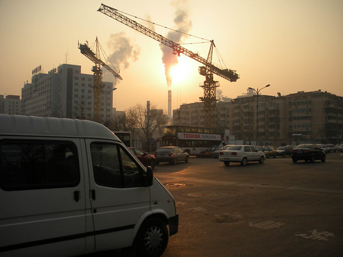 Construction and golden skies