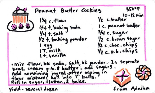 recipe card - peanut butter cookies