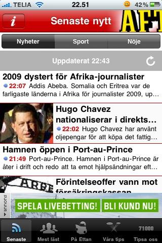Ny iphone-app: Aftonbladet Supernytt