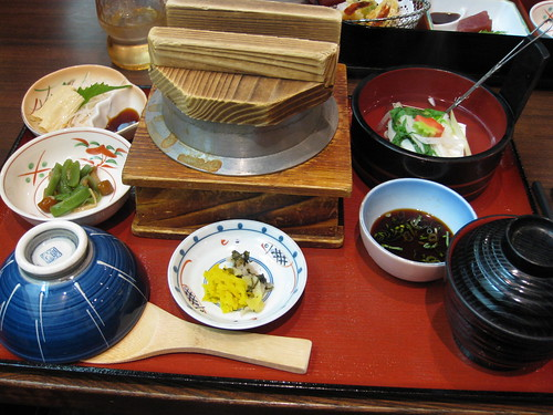 Yuba (Tofu Skin), Steamed Rice with Seafood and Vegetables, Hiyayakko (Cold Tofu), Red Miso Soup, Tsukemono (Pickles)