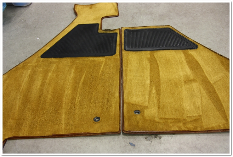 Ferrari 355 GTS floor mats after cleaning
