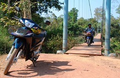 looks easy enough, ahem (aquanica) Tags: laos suspensionbridge rivercrossing motobike bolaven salavan