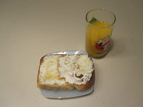 cream cheese toasts, OJ