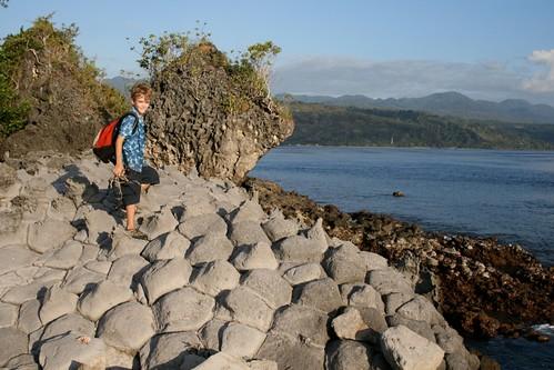 Jasper hiking on Kepa Island