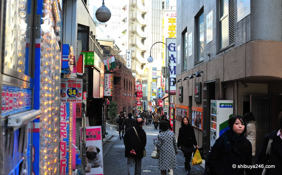 This is a well traveled shortcut to get from one side of Dogenzaka across through Tokyu Bunkamura and beyond. It used to be quite seedy but recently new shops have come into the area and it is on the up and up.