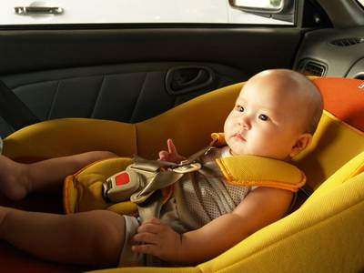 Justin in car seat