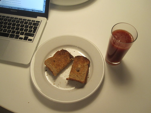 Cheese toast, tomato juice