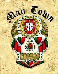 Man Town (Danger S. Jones) Tags: blue red green portugal yellow tattoo dayofthedead gold heart flag traditional flash diadelosmuertos portuguese calavera sugarskull calaca shannonjones dangersjones