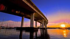 Day 152 - Ashley River Sunset (joel8x) Tags: bridge sunset wallpaper sc water river boats nikon charleston 365 d90 project365 tokinaaf1116mmf28