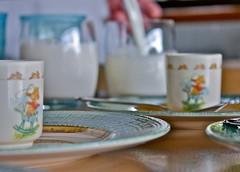 Breakfast (elflyn) Tags: sunlight white cooking cup kitchen children milk tea egg plate spoon fresh 365 saucer