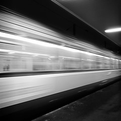 Mais o vont ces trains de nuit ? (philoufr) Tags: blackandwhite motion blur paris station night speed train square noiretblanc quay nuit quai flou mouvement sncf vitesse garesaintlazare explored carrfranais canonpowershots90