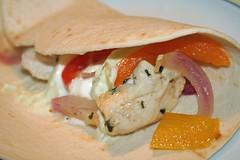 Fajita (tvermar) Tags: food chicken cooking pepper onion tortilla fajita redpepper redonion orangepepper wrapguacamolecremefraiche