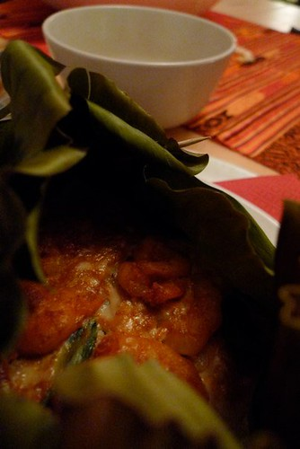 13.Feb.10 Steamed curry prawns with Thai sweet basil, in banana leaves.