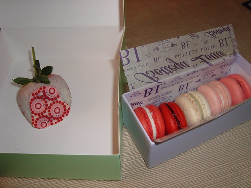 Chocolate Covered Strawberry & Macarons @ Bottega Louie