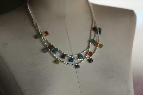 silver glass beads + gemstone blocks