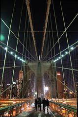 Brooklyn Bridge (Mattron) Tags: nyc newyorkcity bridge light newyork tower silhouette stone architecture night dark gothic landmark brooklynbridge eastriver