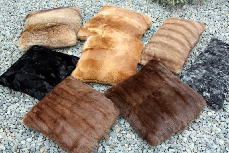 Recycled mink fur pillows by The Coat Check at Etsy