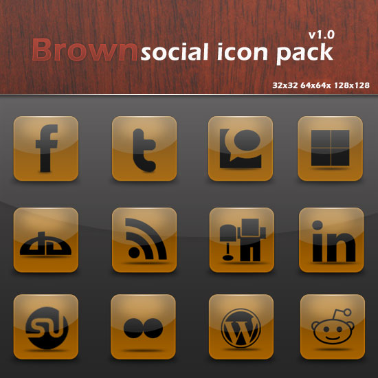 Free and Exclusive Icons: Brown Social Icon Pack