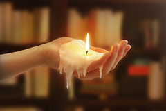 Candlehand (.Bradi.) Tags: fire holding candle hand arm fingers bookshelf palm burning flame wax melted liquid dripping wick cisforcandle