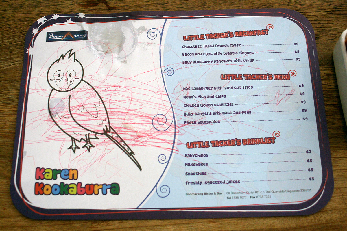 Boomarang is kid-friendly, with coloring kits and children's menus