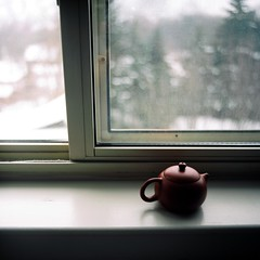 Winter Tea (Inside_man) Tags: stilllife macro slr 120 6x6 film window colors mediumformat tea drink teapot flektogon pentaconsix portranc wintertea clayteapot hanimexpraktica66