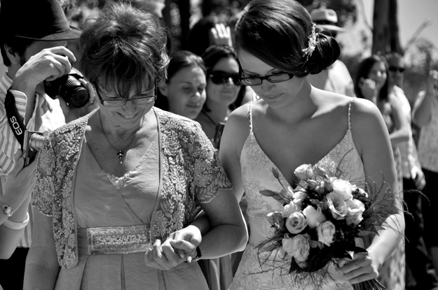 Christina and Ann walking close b&w