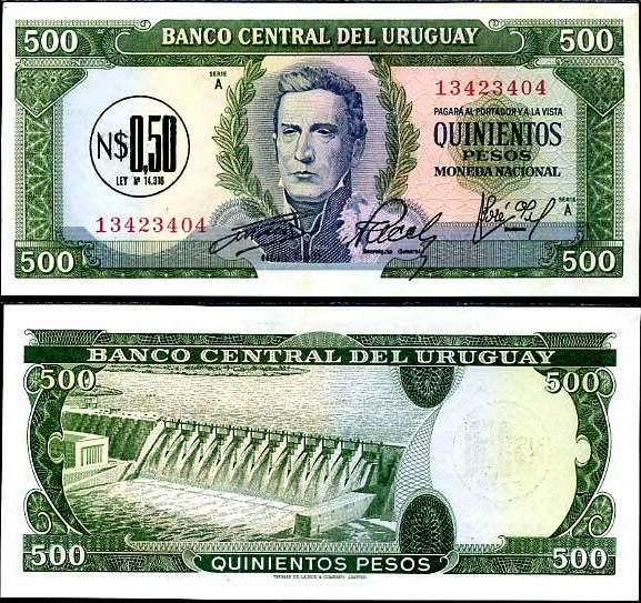 Uruguaj - URUGUAY 0.5 NUEVO PESO ON 500 1975 P54