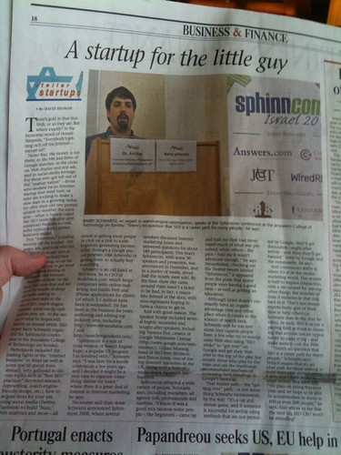 Me & SphinnCon in Jerusalem Post on March 9, 2010