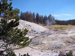 A nice view of Coffee Pot spring itself.  Off in the distance you can see some steam from thermals near Upper Coffee Pot.