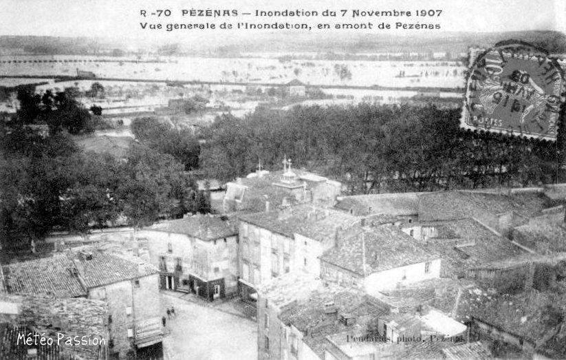 plaine de Pézenas inondée le 7 novembre 1907