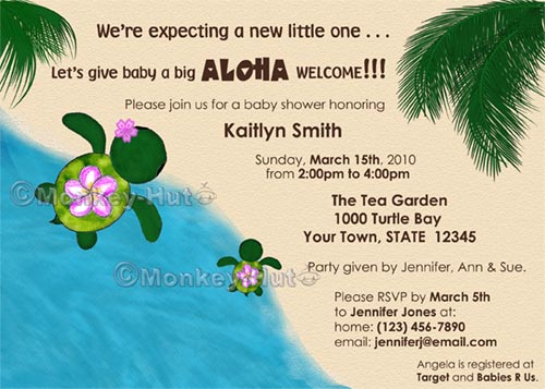 Adorable Baby Shower Invitation Turtles (Honu)