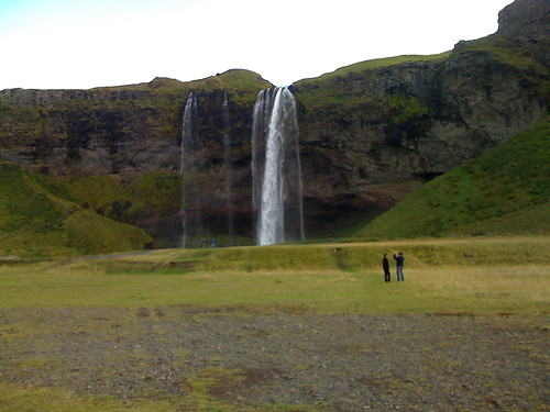 an icelandic waterfall from not close