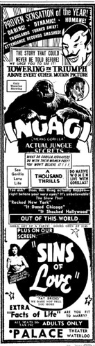 INGAGI (1930) Newspaper ad 4-30-46