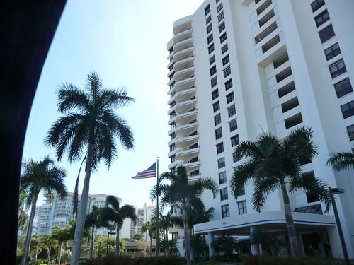 large towers near beach.