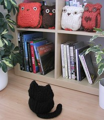 Black Cat and Birdies (Hand Knitted Things) Tags: uk black bird ikea birds cat design knitting hand handmade knit books things owl knitted shelving bookcase owls expedit handknittedthings