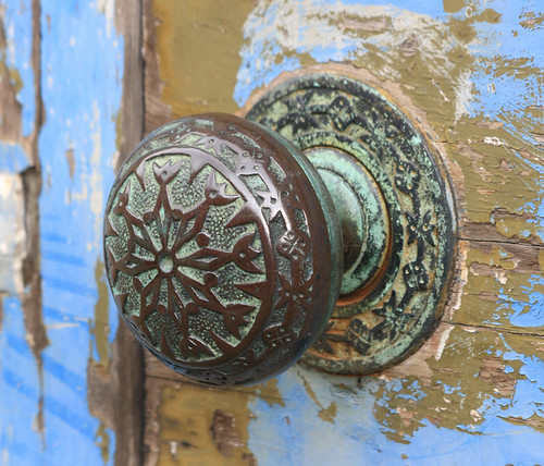 Detail of design on original Victorian, bronze door-knob.