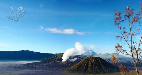 Mt Bromo,Mt Batuk & Mt Semeru from Pos Gardu Pandang, Bromo-Tengger National-Semeru Park
