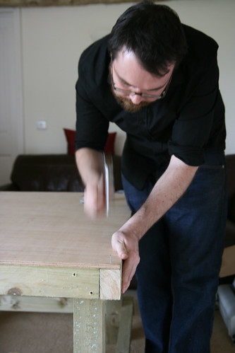 Attaching the plywood tabletop