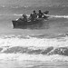 Bones, Brian Adams, Ross & Brian Erickson in borrowed boat Wellington Surf Champs 1975