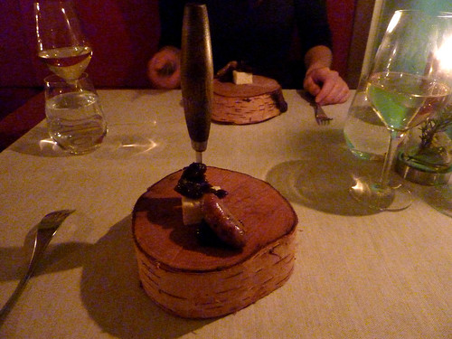 Goats cheese from Lillängen with prunes infused in birch tree wine with duck sausage