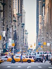 6th ave canyon #2 (miemo) Tags: street city newyorkcity travel urban usa newyork cars buildings lights spring crossing skyscrapers traffic manhattan olympus taxis pedestrians northamerica crosswalk avenue cabs 6thavenue ep1 omzuiko200mmf4