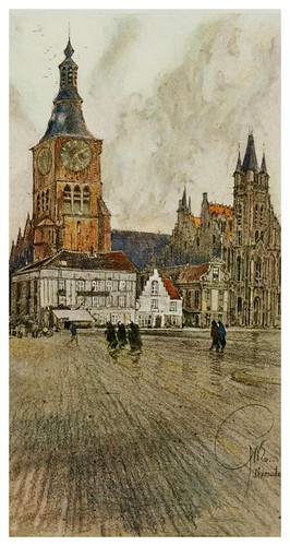 014- Antigua plaza de Dixmude en Flandes-Vanished towers and chimes of Flanders 1916- Edwards George Wharton