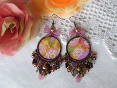 Spring Colours (mi-nuxa) Tags: pink flowers flores metal laranja rosa pearls earrings brincos 2010 andmade prolas japanesefabric orande primaveravero tecidojapons vidrocheco cristaischecos