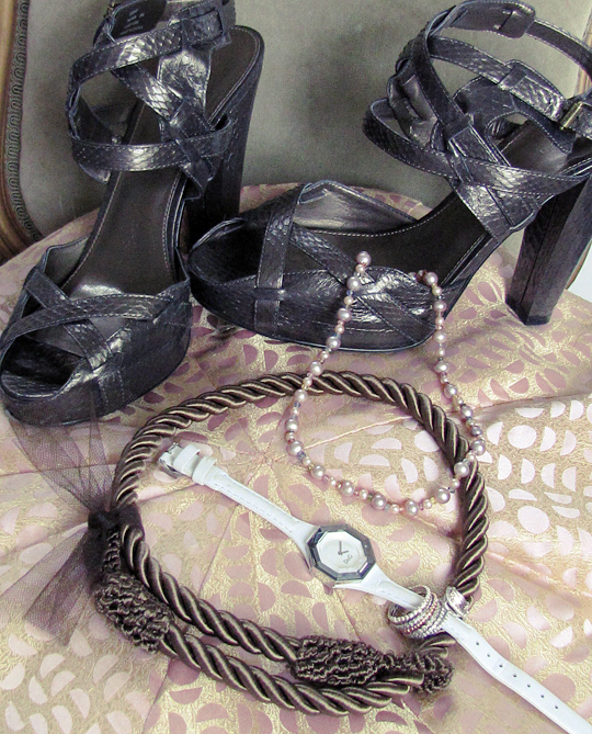 calvin klein shoes+rope necklace+pink pearls -2