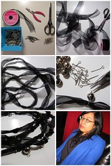 DIY: Knotted Ribbon Necklace with Baubles (spin off stuff) Tags: diy tutorial spinsandneedles ribbonnecklace